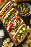 Gourmet Grilled All Beef Hots Dogs. With Sides and Chips Stock Photos