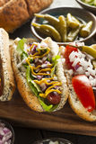 Gourmet Grilled All Beef Hots Dogs. With Sides and Chips Royalty Free Stock Images
