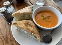Gourmet Grilled Cheese and Tomato Soup royalty free stock image