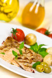 Gourmet,grilled Veal Slices with Salad Royalty Free Stock Image