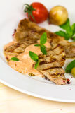 Gourmet,grilled Veal Slices with Salad royalty free stock photography
