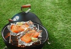 Gourmet- grillfest med grillade laxfiléer Royaltyfria Foton
