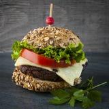 gourmet- hamburgare Arkivfoto