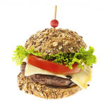 Gourmet hamburger on white Royalty Free Stock Photo