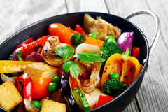 Gourmet Healthy Main Dish on Black Cooking Pan Stock Photography