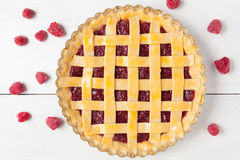 Gourmet homemade raw raspberry pie with jam on Royalty Free Stock Photography