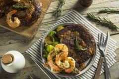Gourmet Homemade Steak and Shrimp. Surf n Turf stock photos