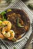 Gourmet Homemade Steak and Shrimp. Surf n Turf royalty free stock image