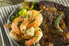 Gourmet Homemade Steak and Shrimp. Surf n Turf stock image