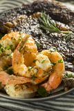 Gourmet Homemade Steak and Shrimp. Surf n Turf royalty free stock photography