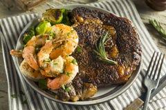 Gourmet Homemade Steak and Shrimp. Surf n Turf stock photo