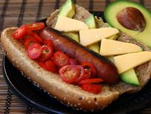 Gourmet Hot Dog on a Bun Stock Photography