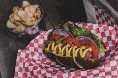 Gourmet hot dog with chips and drink in a basket with gingham na. Pkin. Tabletop, side view, close up Royalty Free Stock Photos
