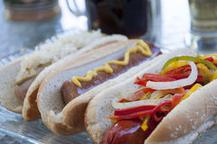 Gourmet hot dogs Stock Image