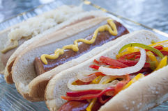 Gourmet hot dogs Stock Photography