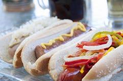 Gourmet hotdogs Stock Photos