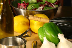 Gourmet ingredients. On cutting board stock photo