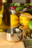 Gourmet ingredients - vertical. Gourmet ingredients  on cutting board- vertical Royalty Free Stock Photo