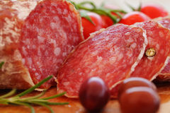 Gourmet italian food salami. Gourmet italian food, salami closeup Royalty Free Stock Photos
