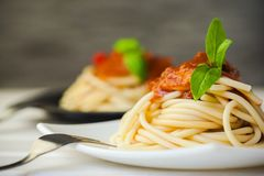 Gourmet. Italian meal food pasta rustic plate Stock Photos