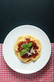 Gourmet Italian Pasta Food on Round Plate Stock Photo