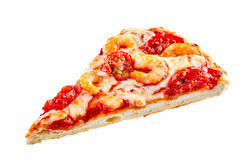 Gourmet Italian pizza slice with shrimp tails Royalty Free Stock Photography