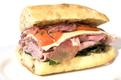 Gourmet italian salami prosciutto sandwich Stock Images