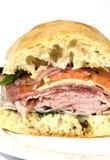 Gourmet italian salami prosciutto sandwich Stock Photography