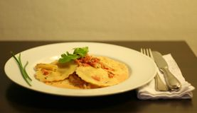 gourmet- italiensk ravioli royaltyfri fotografi