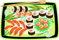 Gourmet Japanese national cuisine. The beautifully served dishes include seafood, sushi, rolls, caviar, rice, greens, sliced vector illustration