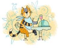 Gourmet- katt royaltyfri illustrationer
