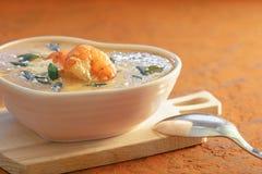 Gourmet- kräm- soppa för Closeup med räka och löken arkivfoto