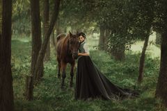 A girl in a vintage dress. Gourmet lady in a vintage dress. A beautiful rider gently hugs the horse. Artistic Photography Royalty Free Stock Images