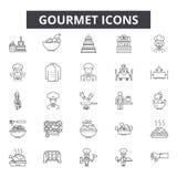 Gourmet- linje symboler för rengöringsduk och mobil design Redigerbart slaglängdtecken Gourmet- översiktsbegreppsillustrationer vektor illustrationer