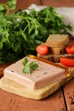 Gourmet liver pate with black rye bread Stock Photos