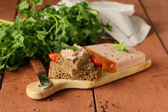 Gourmet liver pate with black rye bread Royalty Free Stock Images