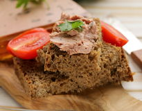 Gourmet liver pate with black rye bread Stock Photo