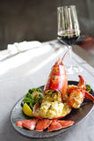 Gourmet lobster dinner at the restaurant Royalty Free Stock Photography