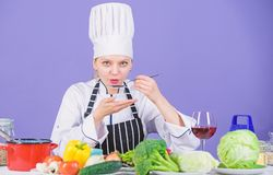 Gourmet main dish recipes. Delicious recipe concept. Girl in hat and apron. Cooking healthy food. Fresh vegetables stock photo
