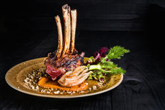 Gourmet Main Entree Course Grilled rack of lamb. Rack of lamb on a golden plate on a black background Stock Image