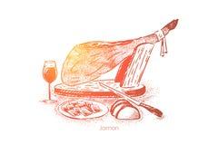 Gourmet- matst?lle, traditionell jamon, k?ttskivor p? plattan med kniven och vin, nationell kokkonst royaltyfri illustrationer