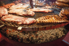 Gourmet meat pieces pork ribs, sausages, on a large grill . Royalty Free Stock Image