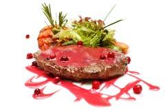 Gourmet meat, restaurant steak and sauce. Gourmet meat, restaurant steak and red sauce stock photo