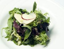 Gourmet Mesclun Salad 2. This gourmet salad consists of mesclun and thinly sliced apples as a garnish Stock Photos