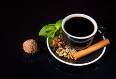 Gourmet Milk Chocolate Truffle with Black Coffee Stock Images