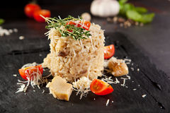 Gourmet Mushroom Risotto. With Parmesan and Cherry Tomato Stock Image