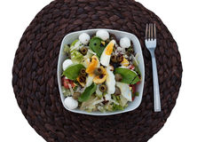 Gourmet Nutritional Food on Bowl on Round Placemat Stock Photo
