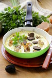 Gourmet omelette with black truffle Stock Photos