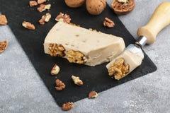 Gourmet- ost med valnötter behandlat royaltyfria foton