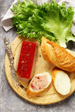 Gourmet pate de foie gras with a baguette. For an appetizer Stock Photo